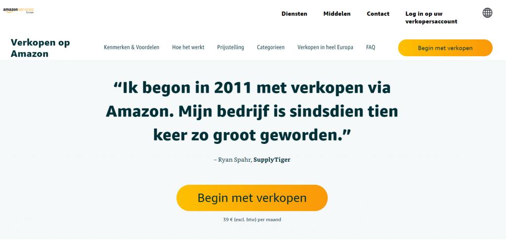 Amazon Services Nederland homepagina