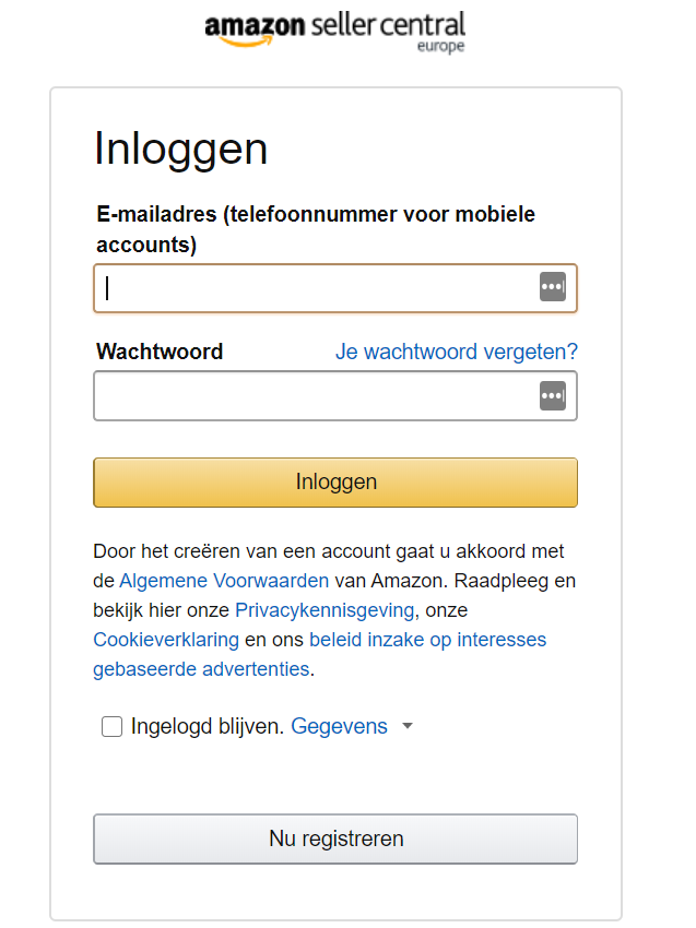 Inloggen op Amazon Seller Central Nederland