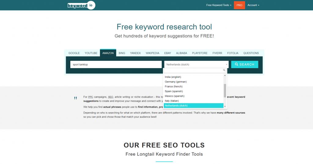Vind zoekwoorden met Keyword io