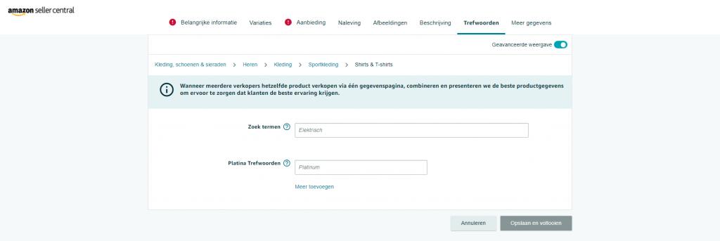 Vul de trefwoorden of zoekwoorden van je product in op de geavanceerde weergave