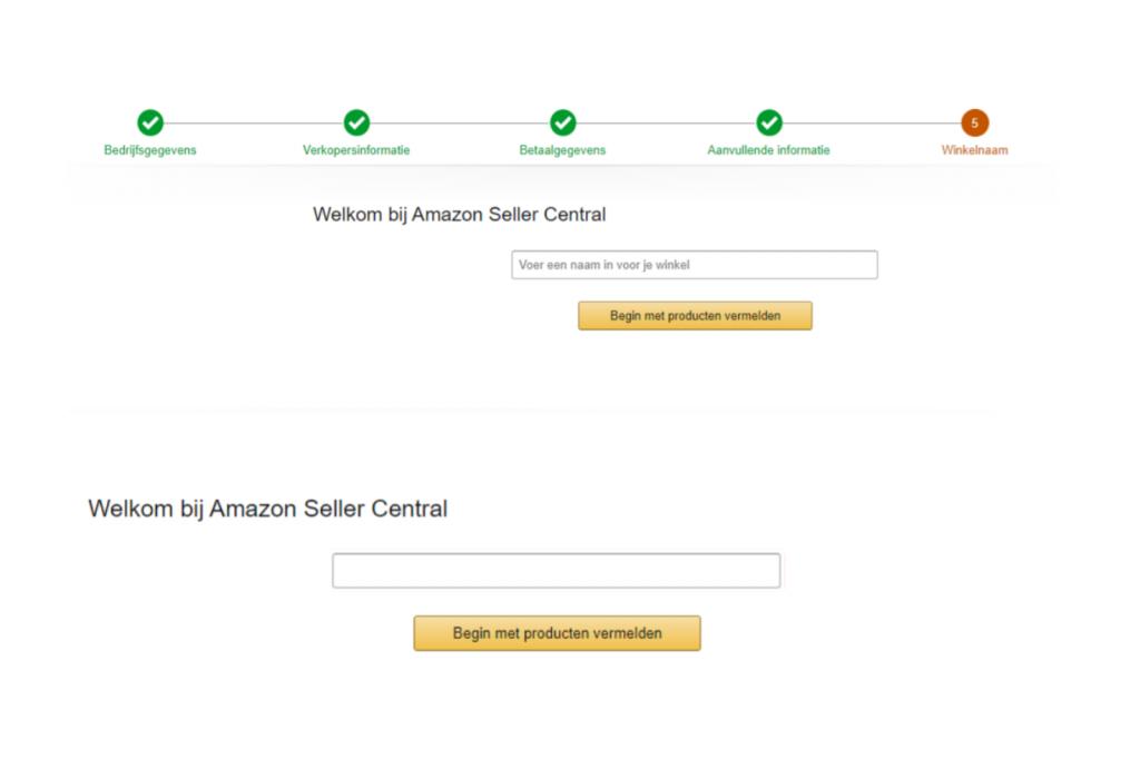 Vul je winkelnaam in op Amazon Seller Central