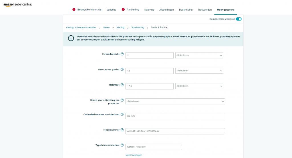 Vul meer gegevens in over je product in de geavanceerde weergave 2
